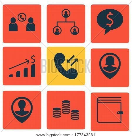 Set Of 9 Management Icons. Includes Business Deal, Phone Conference, Cellular Data And Other Symbols. Beautiful Design Elements.