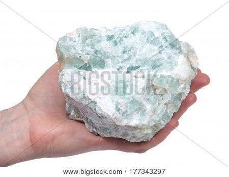 Young woman holding raw green natural chunk on white background