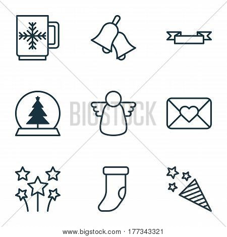 Set Of 9 New Year Icons. Includes Ringer, Magic Sphere, Placard And Other Symbols. Beautiful Design Elements.