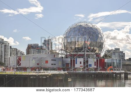 British Columbia,Canada-March 21 2017: Science World view in the sunny day Located near downtown at Vancouver,BC Canada