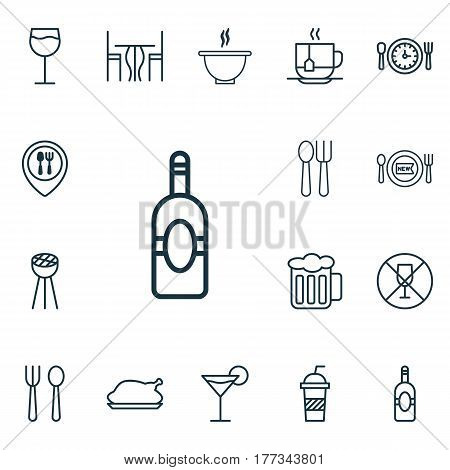 Set Of 16 Restaurant Icons. Includes Cutlery, Cocktail, Food Mapping And Other Symbols. Beautiful Design Elements.
