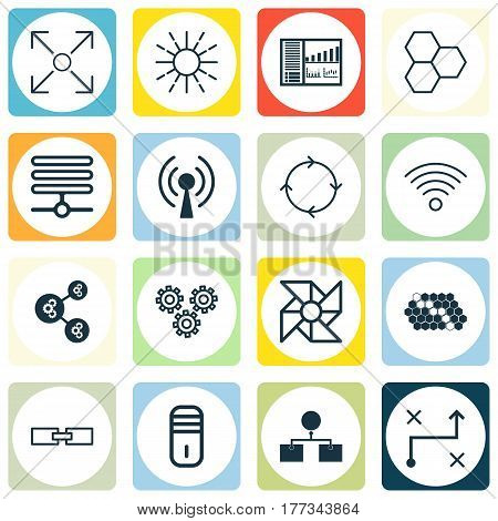 Set Of 16 Machine Learning Icons. Includes Hive Pattern, Mainframe, Wireless Communications And Other Symbols. Beautiful Design Elements.