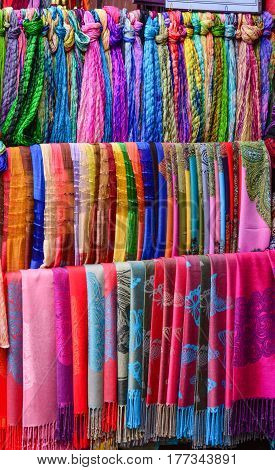 Colorful Textile For Sale At Asian Street Market