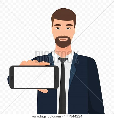 Bearded businessman showing the empty smartphone screen vector illustration. Phone screen alpha transperant background