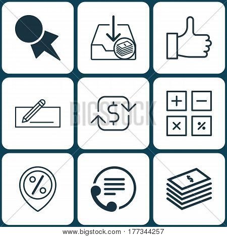 Set Of 9 E-Commerce Icons. Includes Calculation Tool, Telephone, Recurring Payements And Other Symbols. Beautiful Design Elements.