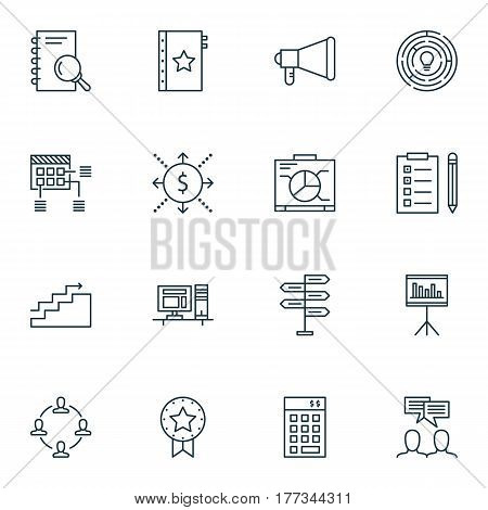 Set Of 16 Project Management Icons. Includes Schedule, Investment, Discussion And Other Symbols. Beautiful Design Elements.