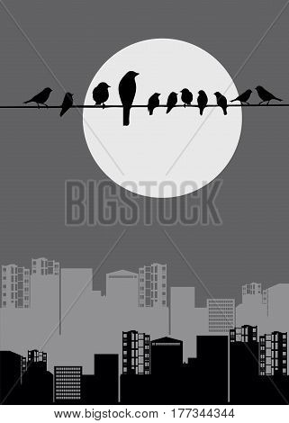 architecture industrial pipe birds moon sparrows magpies