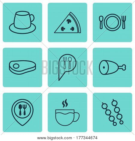 Set Of 9 Food Icons. Includes Cutlery, Pepperoni, Food Mapping And Other Symbols. Beautiful Design Elements.