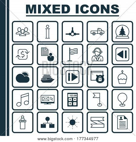 Set Of 25 Universal Editable Icons. Can Be Used For Web, Mobile And App Design. Includes Elements Such As Recurring Payements, Report, Network Structure And More.