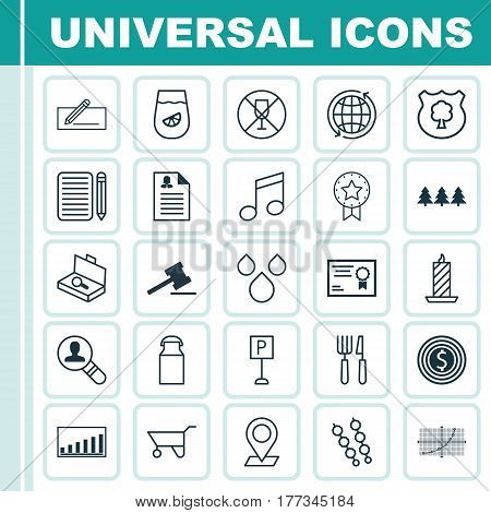 Set Of 25 Universal Editable Icons. Can Be Used For Web, Mobile And App Design. Includes Elements Such As Business Goal, Suitcase Checking, Jug And More.
