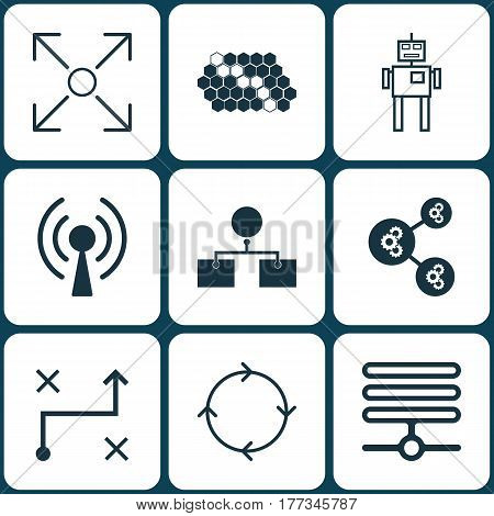 Set Of 9 Artificial Intelligence Icons. Includes Analysis Diagram, Hive Pattern, Solution And Other Symbols. Beautiful Design Elements.