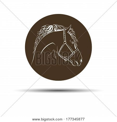 head mustang icon equestrian animal black farm speed horse