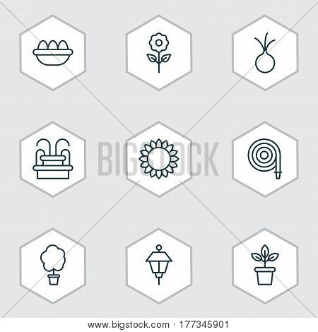 Set Of 9 Plant Icons. Includes Wood Pot, Water Monument, Ovum And Other Symbols. Beautiful Design Elements.