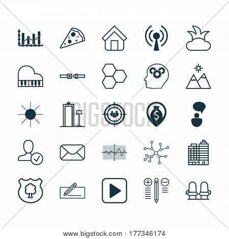Set Of 25 Universal Editable Icons. Can Be Used For Web, Mobile And App Design. Includes Elements Such As Octave, Bush, Security Scanner And More.