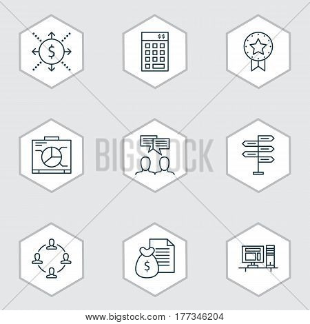 Set Of 9 Project Management Icons. Includes Investment, Discussion, Present Badge And Other Symbols. Beautiful Design Elements.