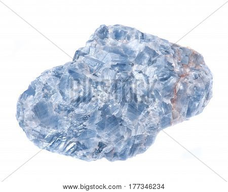 Raw blue white kyanite natural chunk isolated on white background