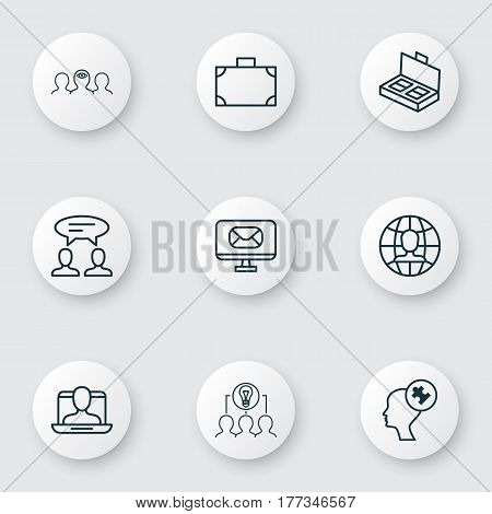 Set Of 9 Business Management Icons. Includes Email, Collaborative Solution, Social Profile And Other Symbols. Beautiful Design Elements.