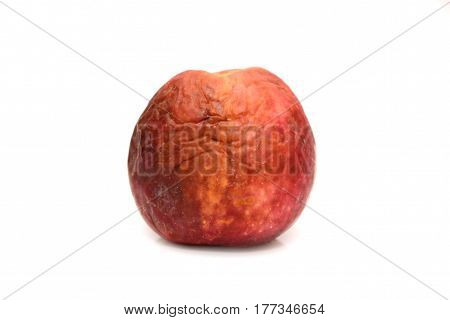 Red rotten apple. Natural color and texture.