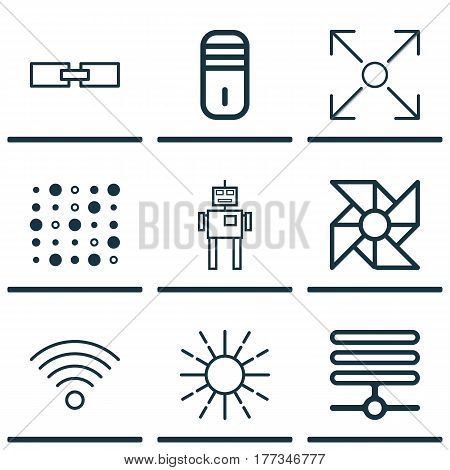 Set Of 9 Artificial Intelligence Icons. Includes Wireless Communications, Mainframe, Lightness Mode And Other Symbols. Beautiful Design Elements.