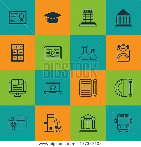 Set Of 16 School Icons. Includes Home Work, Electronic Tool, Haversack And Other Symbols. Beautiful Design Elements.