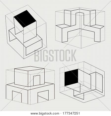box cube carton tray safe symbol illustratio