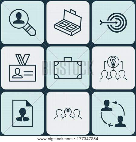 Set Of 9 Business Management Icons. Includes Document Suitcase, Portfolio, Open Vacancy And Other Symbols. Beautiful Design Elements.