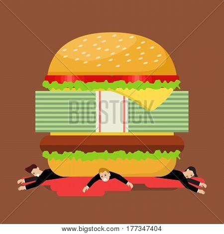 Businessmen under hamburger crisis. Business concept cartoon