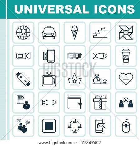 Set Of 25 Universal Editable Icons. Can Be Used For Web, Mobile And App Design. Includes Elements Such As Report, Phone Conference, Collaboration And More.