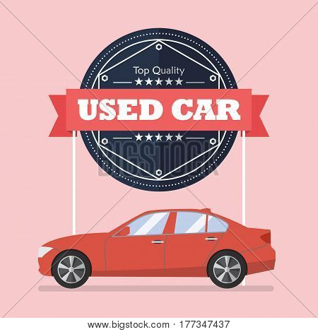 Used car with banner. Flat style vector illustration