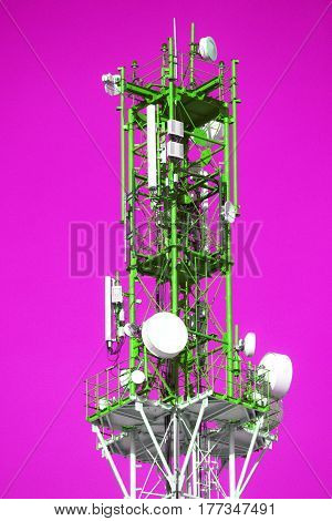 Cellular tower with antenna in yellow and white on a pink background