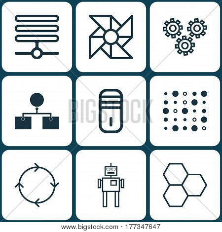 Set Of 9 Machine Learning Icons. Includes Mainframe, Variable Architecture, Recurring Program And Other Symbols. Beautiful Design Elements.