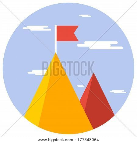 Business Concept Success And Mission. Red Flag On A Mountain Peak.flat Style