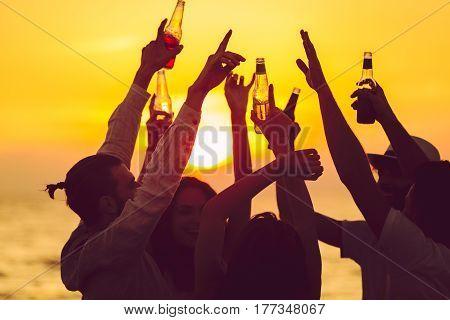 Friends Beach Party Drinks Toast Celebration Concept.
