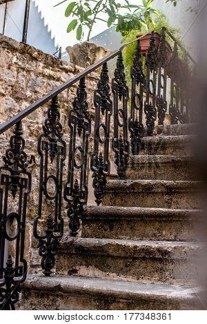 vintage metal railings in the old town of Budva,Montenegro