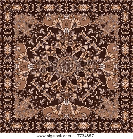 Beautiful blanket with flower - mandala and ornamental frame in brown tones. Shawl. Tablecloth.