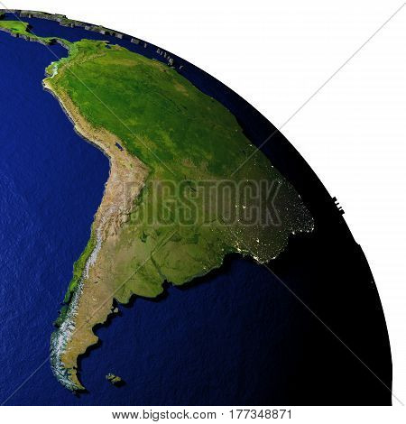 South America On Model Of Earth With Embossed Land
