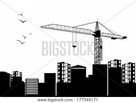 vector construction crane silhouette industry illustration architecture