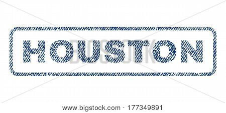 Houston text textile seal stamp watermark. Blue jeans fabric vectorized texture. Vector caption inside rounded rectangular shape. Rubber sticker with fiber textile structure.
