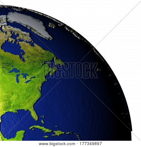 East Coast Of North America On Model Of Earth With Embossed Land