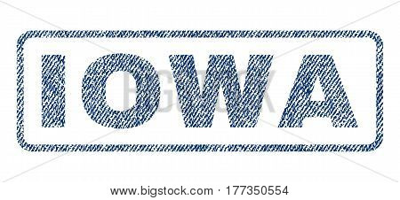 Iowa text textile seal stamp watermark. Blue jeans fabric vectorized texture. Vector tag inside rounded rectangular shape. Rubber emblem with fiber textile structure.