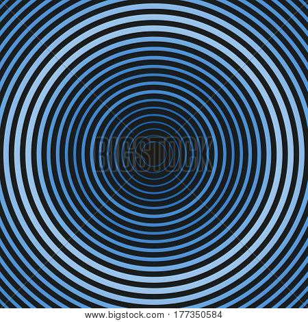 Colorful dark hypnotic illustration. Multiple outline circles. Concentric round geometric composition. Symmetric ellipses of different color radius and weight of line. Element of design.
