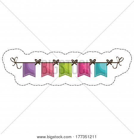 decorative pennants over white background. vector illustration
