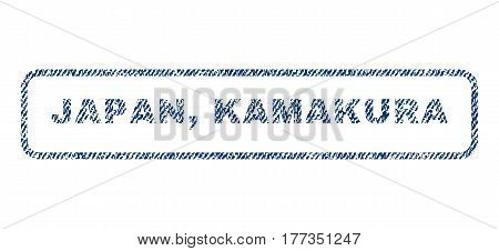 Japan Kamakura text textile seal stamp watermark. Blue jeans fabric vectorized texture. Vector caption inside rounded rectangular shape. Rubber sign with fiber textile structure.