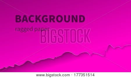 Pink background with ragged edge paper. Template for business cards flyers banners. Vector illustration.