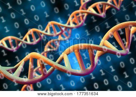 3D rendering of DNA digital data storage concept.