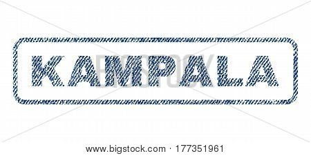 Kampala text textile seal stamp watermark. Blue jeans fabric vectorized texture. Vector tag inside rounded rectangular shape. Rubber emblem with fiber textile structure.