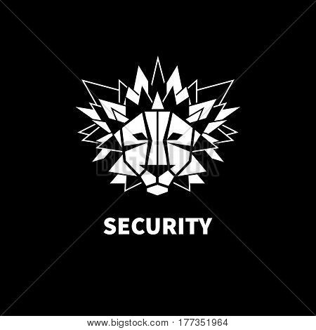Black and white icon. Lion with sharp mane. Vector illustration.