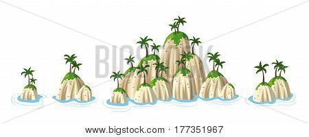 Different hills with tropical palm trees panorama