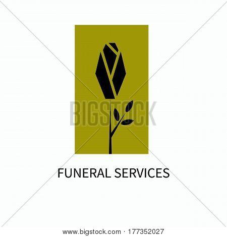 Logo of funeral services. Black rose on a gold background. Vector illustration.