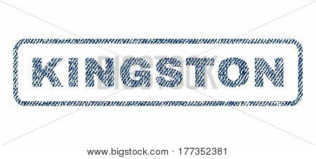 Kingston text textile seal stamp watermark. Blue jeans fabric vectorized texture. Vector caption inside rounded rectangular shape. Rubber sticker with fiber textile structure.